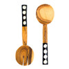 Hand Carved Wooden Salad Servers With Polka Dot Handles