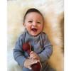 Organic Baby Sweater - Knit - Grey - 3-6m