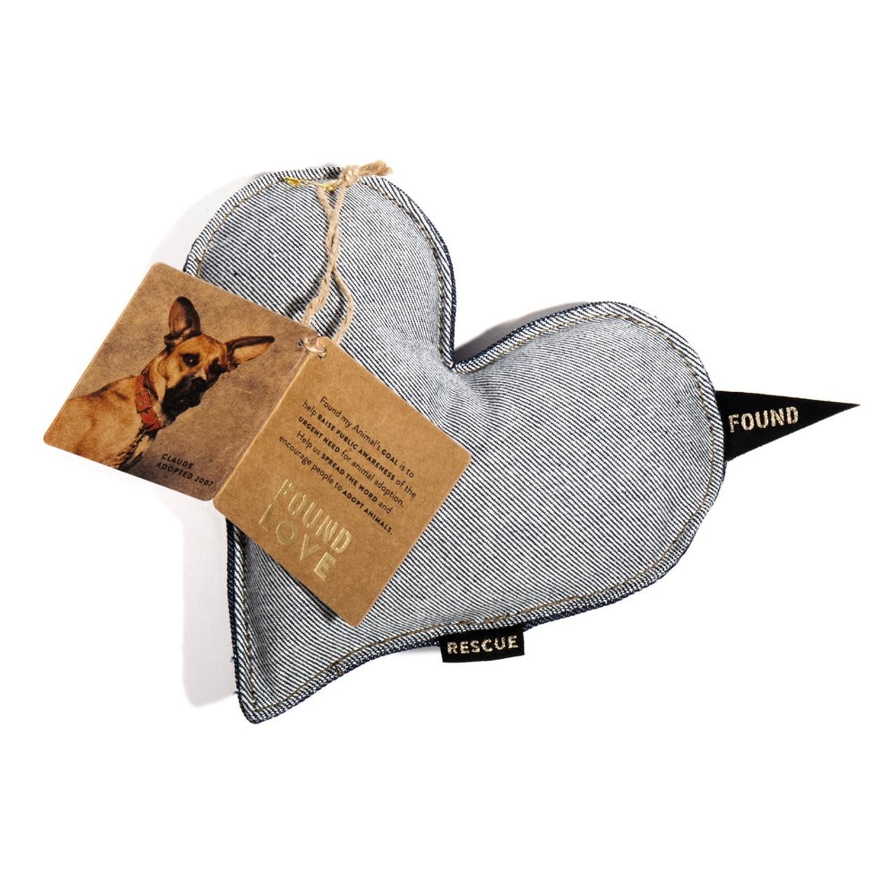 Cotton Heart Dog Toy - Denim, Small