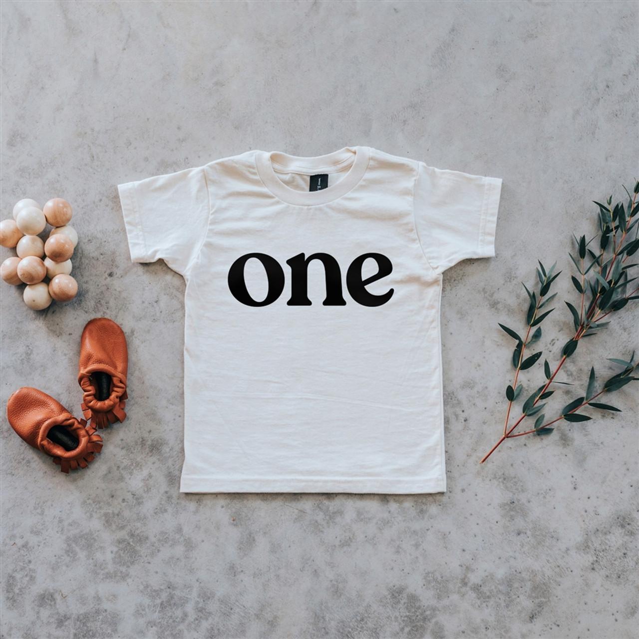 "Organic Cotton Birthday Tee - ""one"""