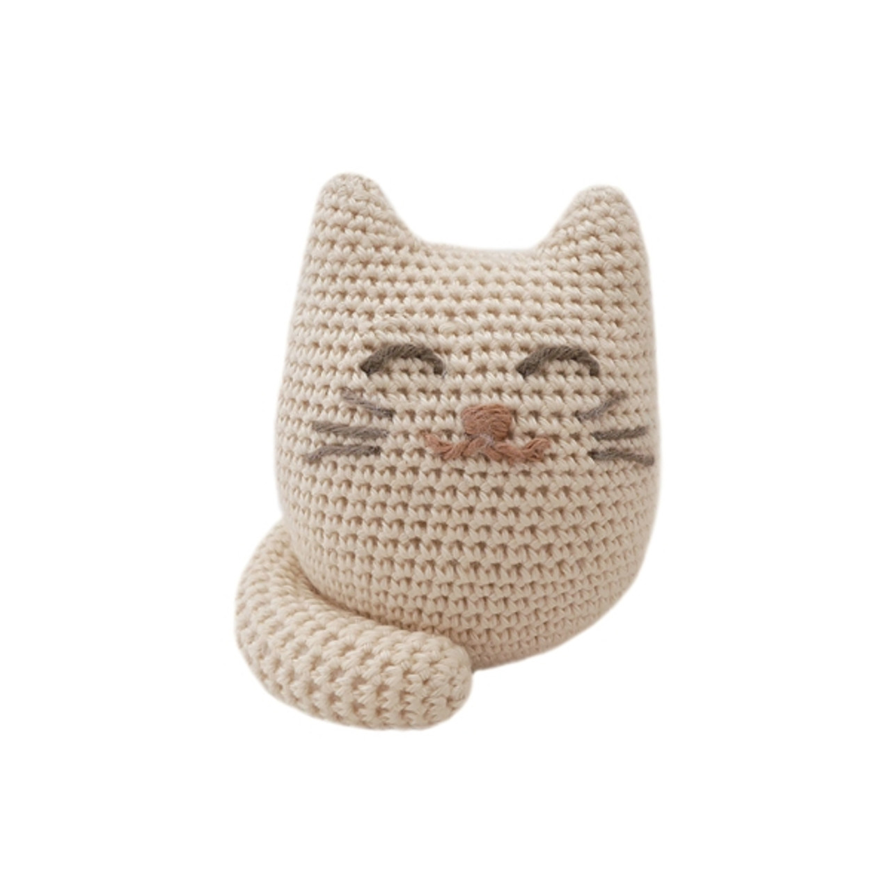 Organic Kitten Rattle - Handknit