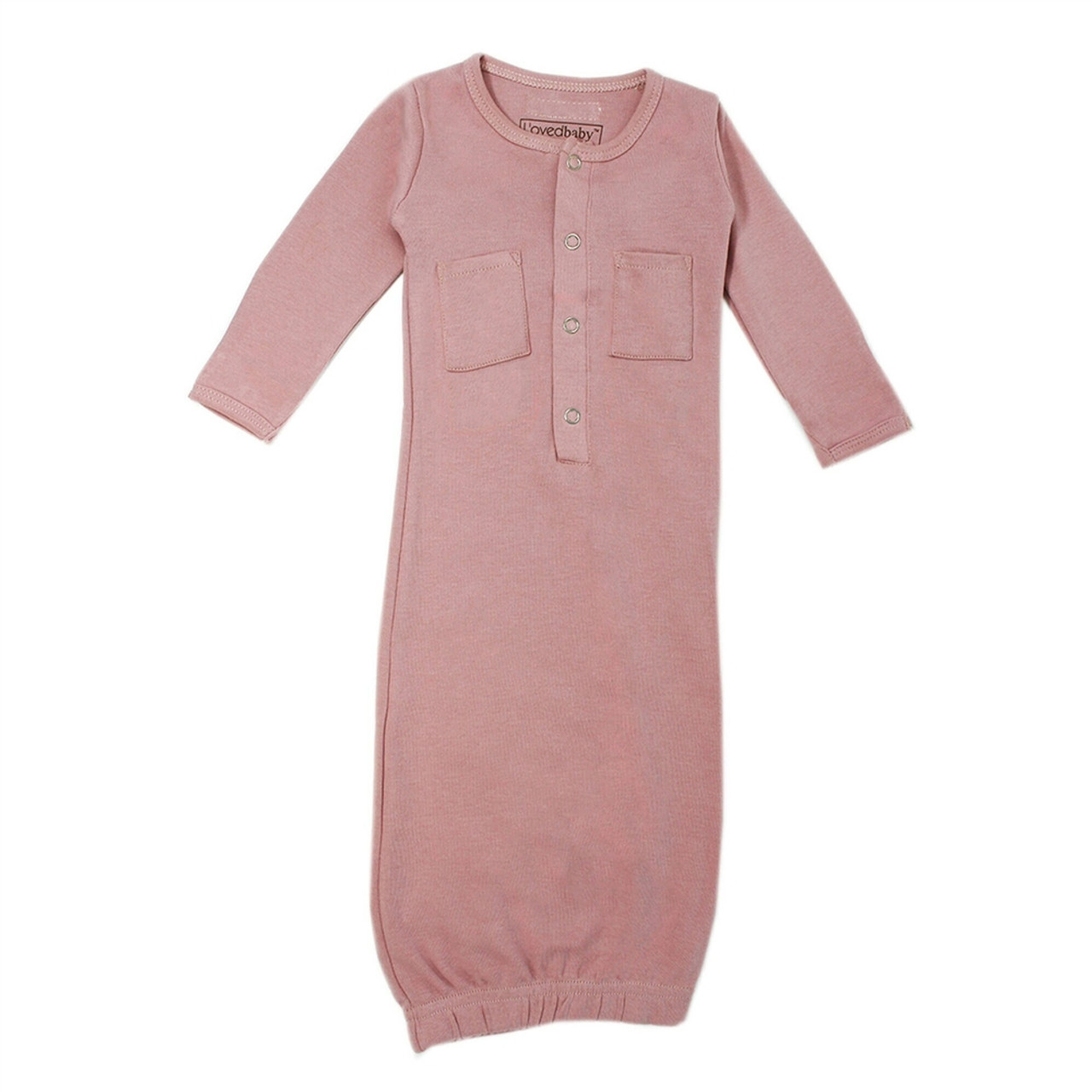 Organic Baby Gown - Mauve, 0-3m