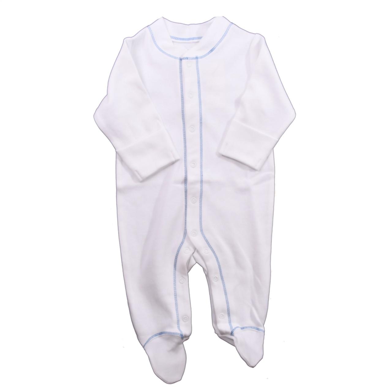 Organic Footed Pajamas - Blue Stitch - 3-6m