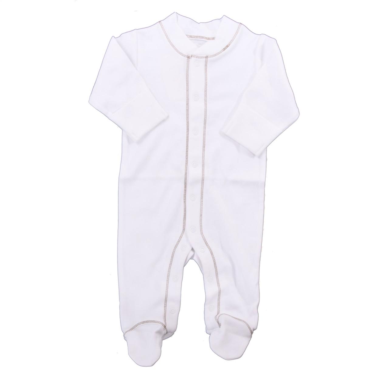 Organic Footed Pajamas - Brown Stitch - Nb-3m
