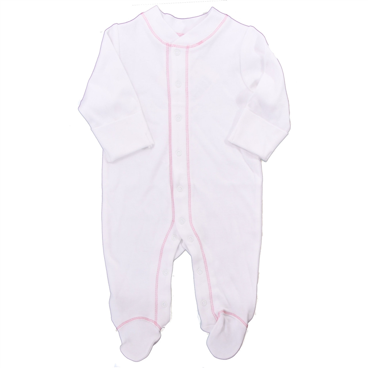 Organic Footed Pajamas - Pink Stitch - 3-6m