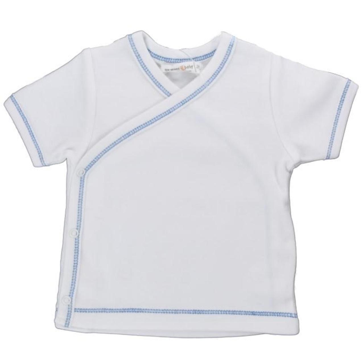 Organic Side Snap Shirt - Blue Stitching - 3-6m