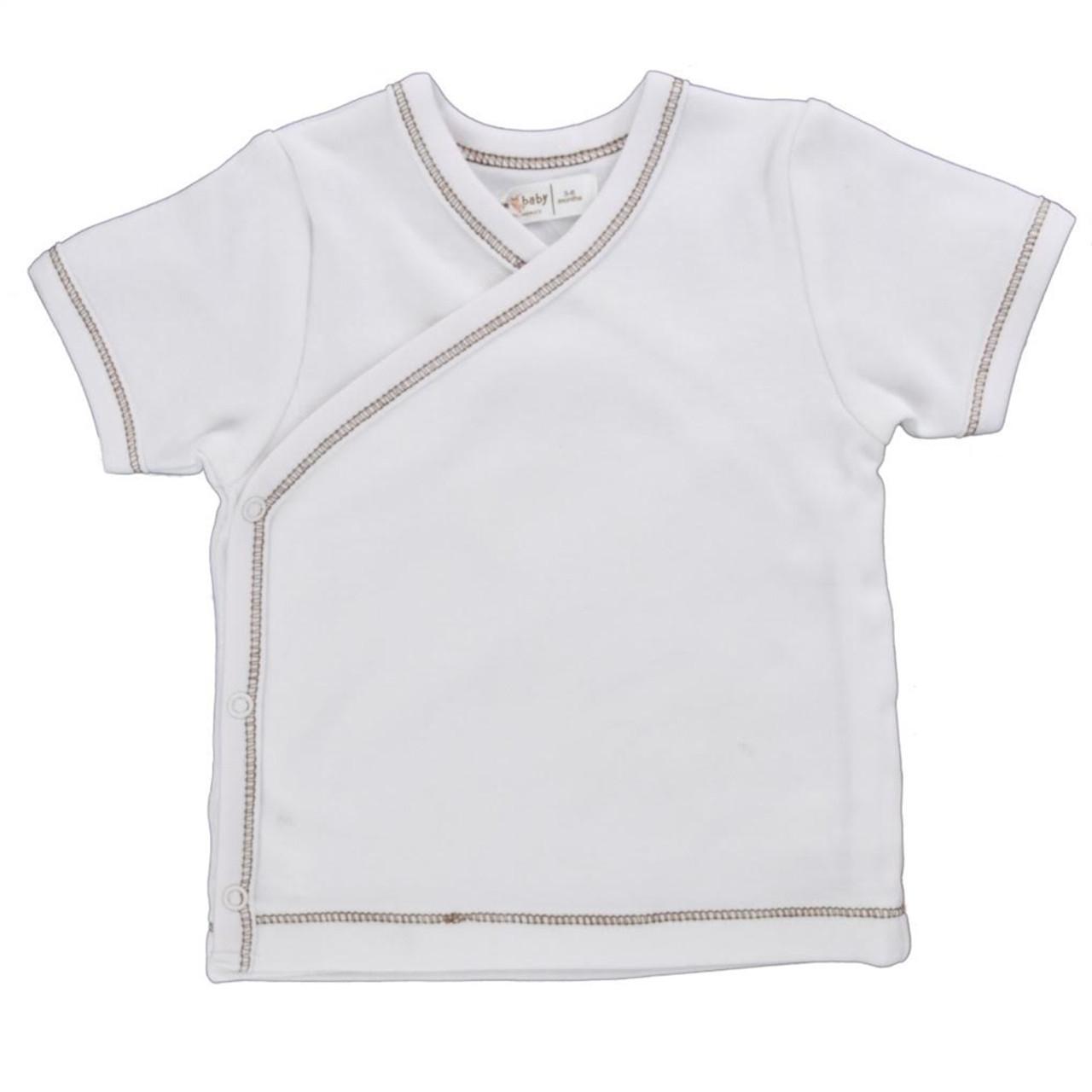 Organic Side Snap Shirt - Brown Stitching - 3-6m