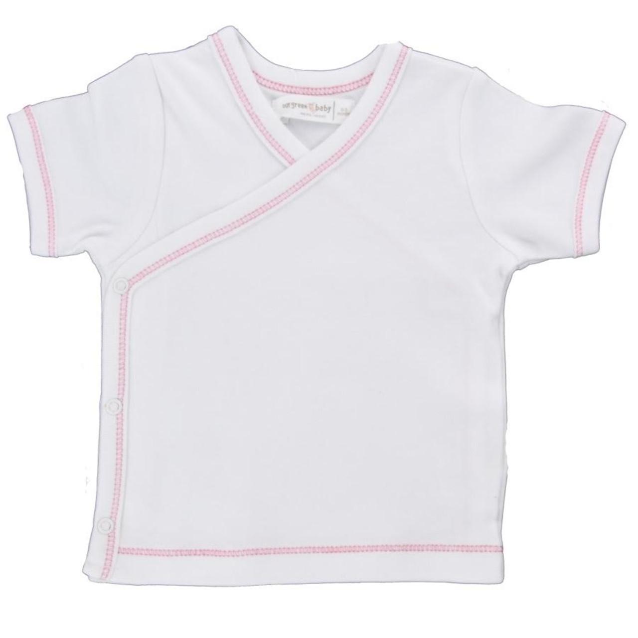 Organic Side Snap Shirt - Pink Stitching - 3-6m