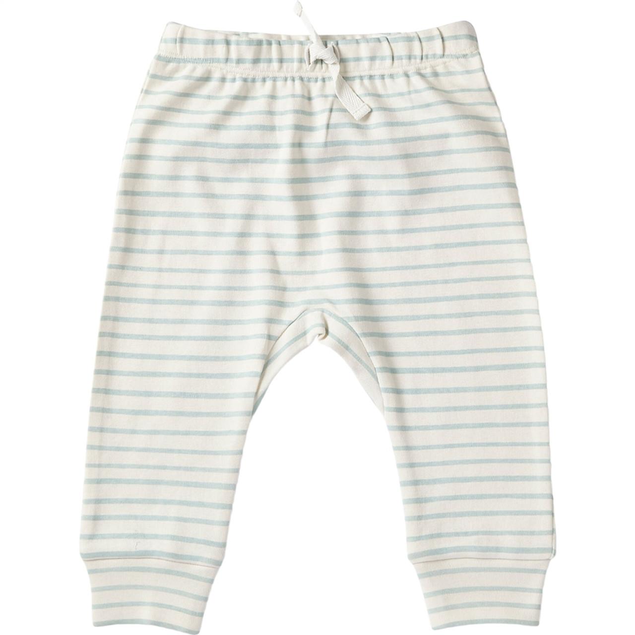 Organic Cotton Baby Harem Pants - Green Stripe, 0-3m