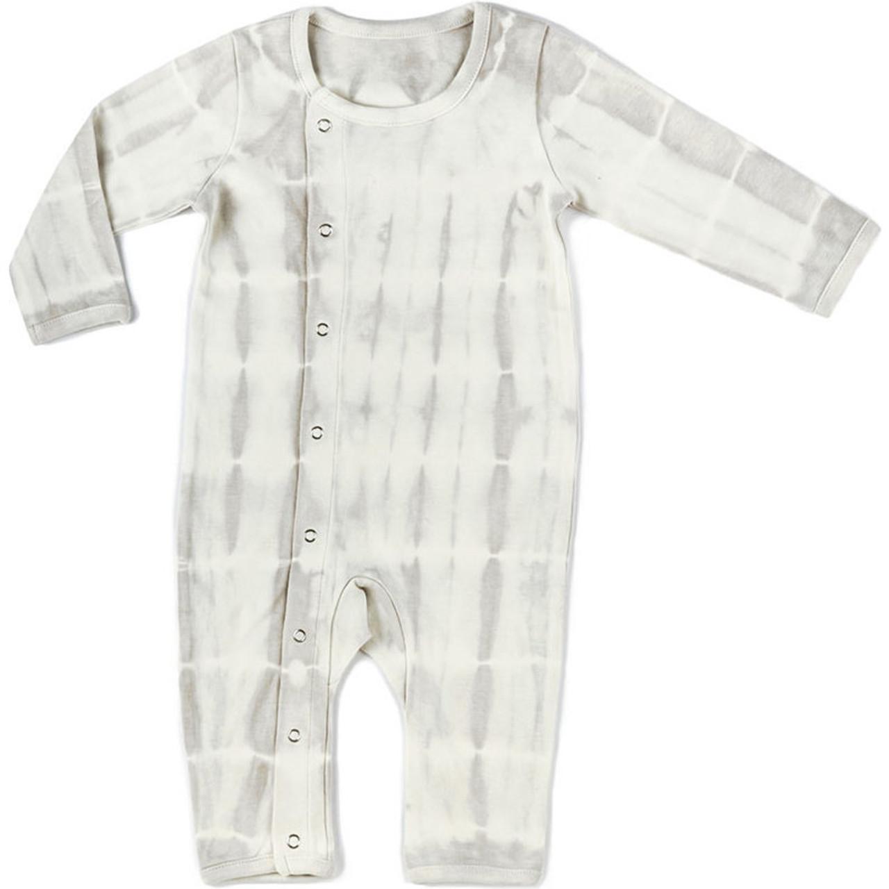 Organic Cotton Kimono Romper - Grey Tie Dye, 3-6m