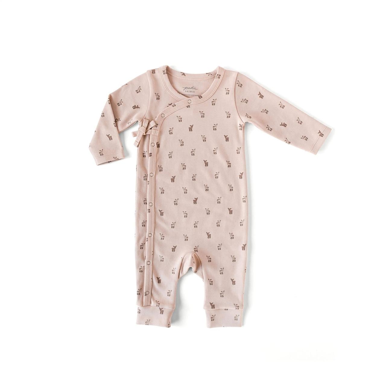 Organic Cotton Kimono Romper - Deer Print, 0-3m