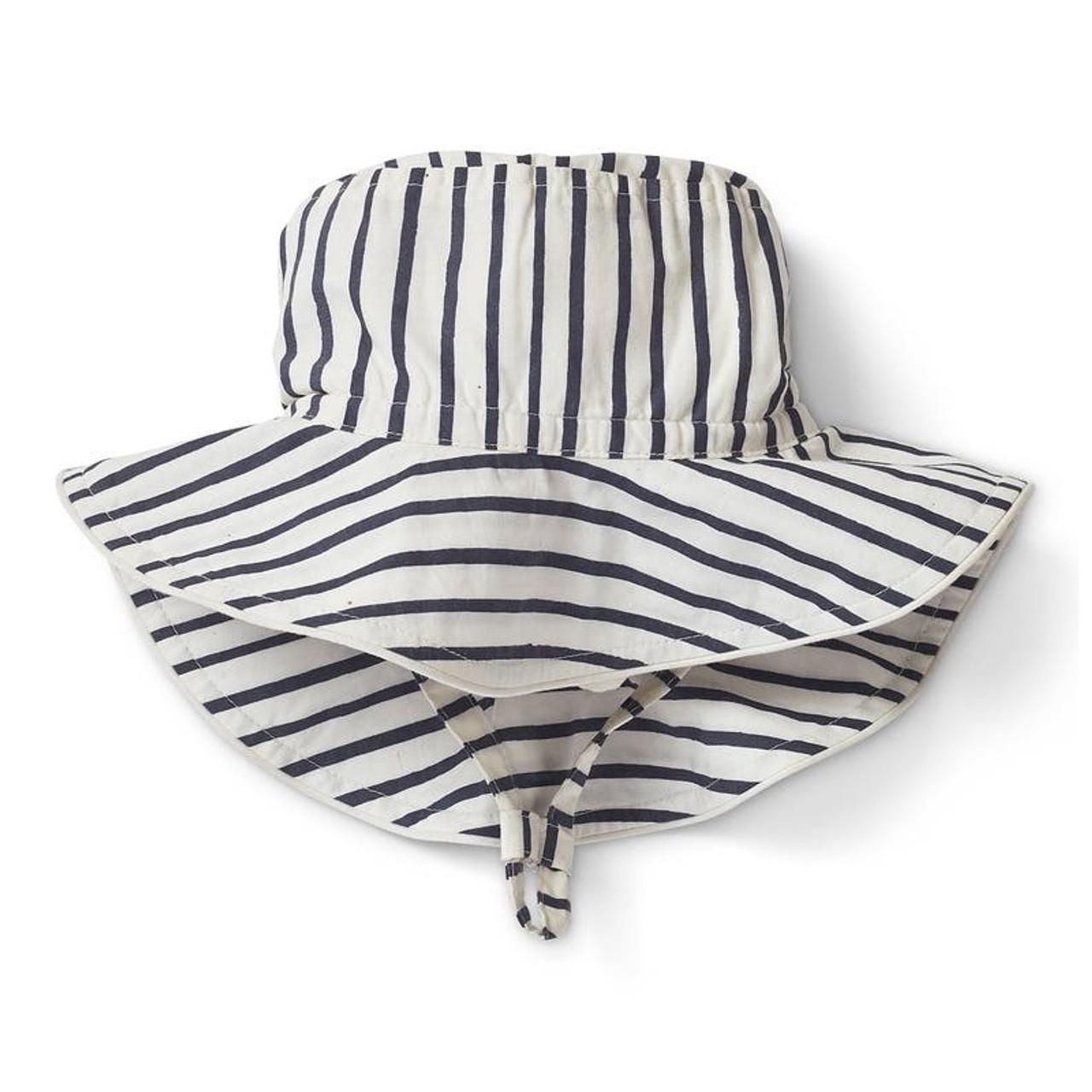 Organic Cotton Sun Hat - Navy Stripe, 0-6m