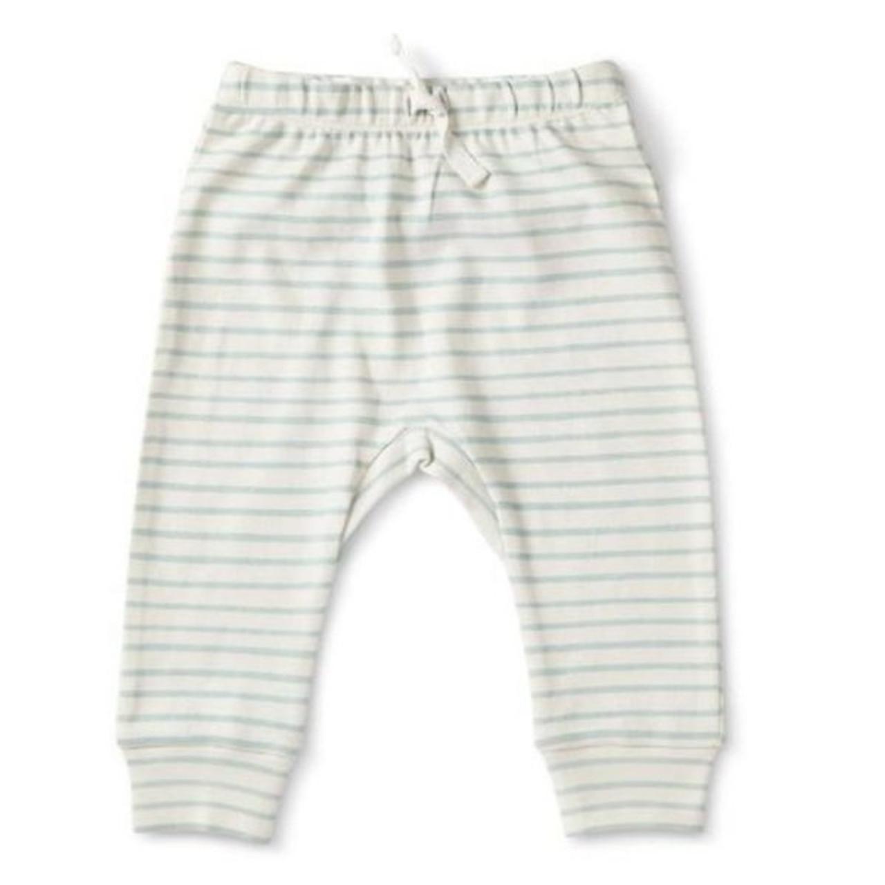 Organic Baby Harem Pants - Grey Stripe, 0-3m
