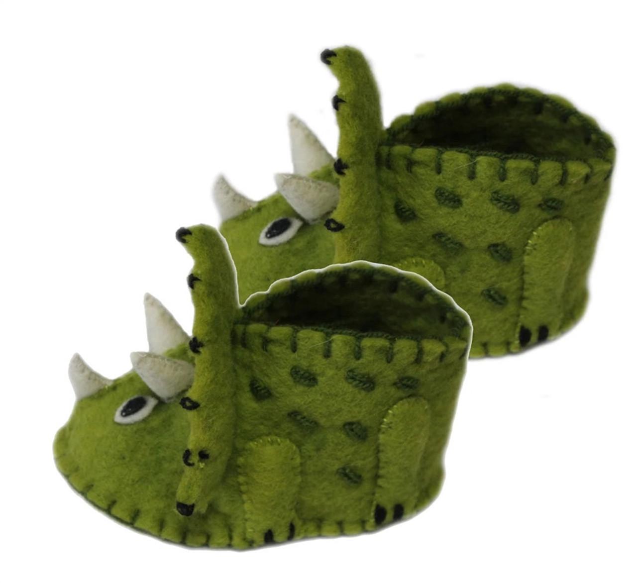 Dinosaur Baby Booties - Wool Felt