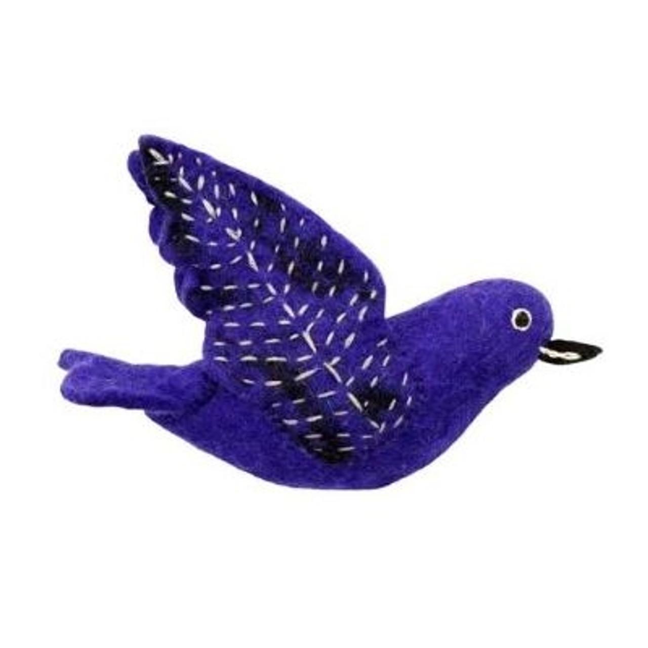 Fair Trade Ornament - Felted Bird Decoration - Purple Martin