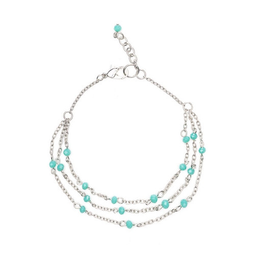 Silver and Jade Glass Anklet