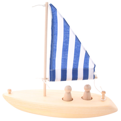 Toy Sailboat that Floats - Wooden Sail Boat - Blue Stripe