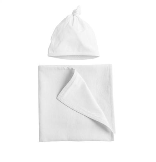 Coyuchi Organic Linen Jersey Blanket and Hat Set - Alpine White
