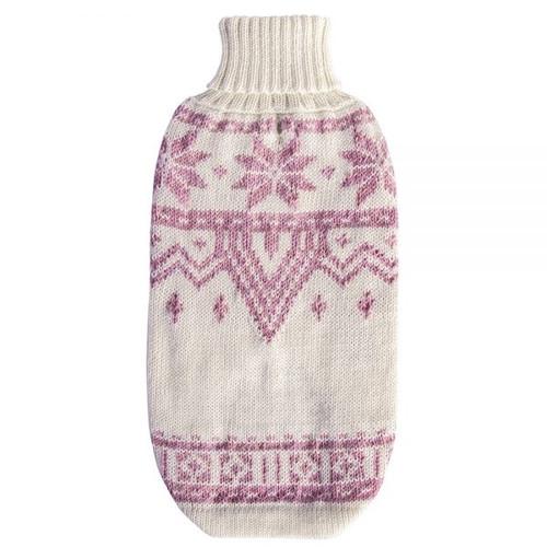 Wool Dog Sweater - Pink Snowflake, Small 11-14 lb
