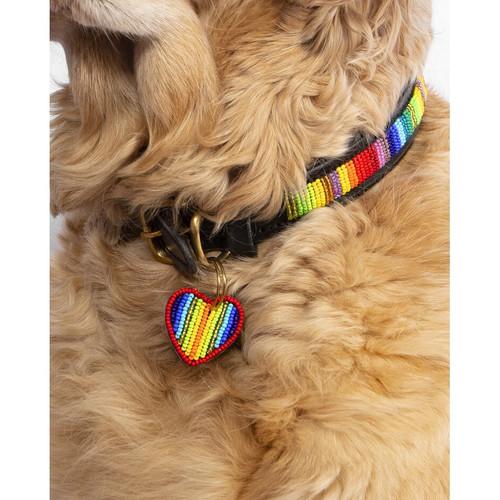 Handcrafted Leather and Bead Collar - Rainbow, Medium