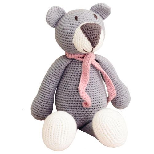 Organic Teddy Bear Toy - Handknit, Grey