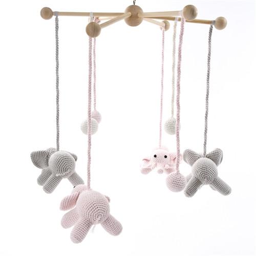 Elephant Crib Mobile - Pink & Grey
