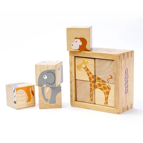 Wooden Blocks - Safari Animals Puzzle Cubes