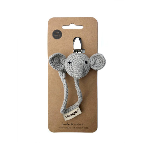 Hand Knit Pacifier Clip - Elephant