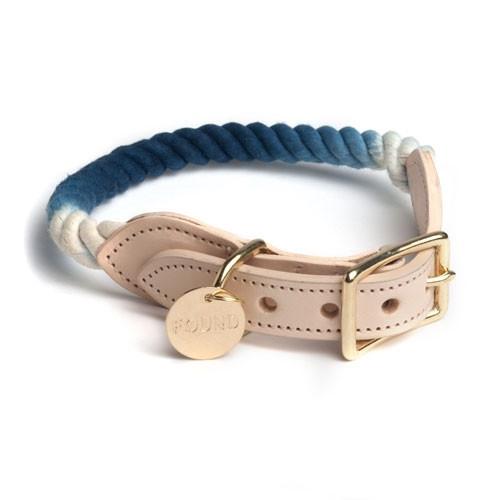 Adjustable Rope Dog Collar - Indigo Ombre, Medium