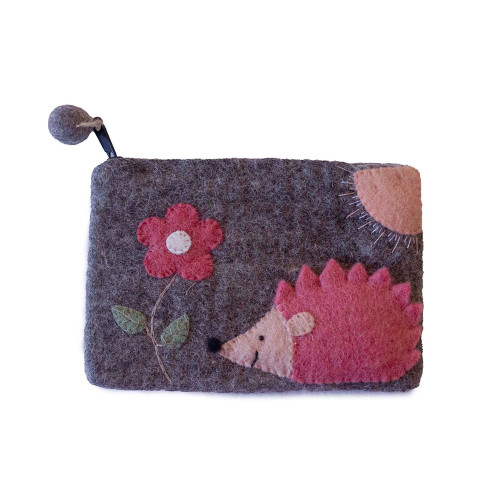 Handmade Hedgehog Purse - Felted