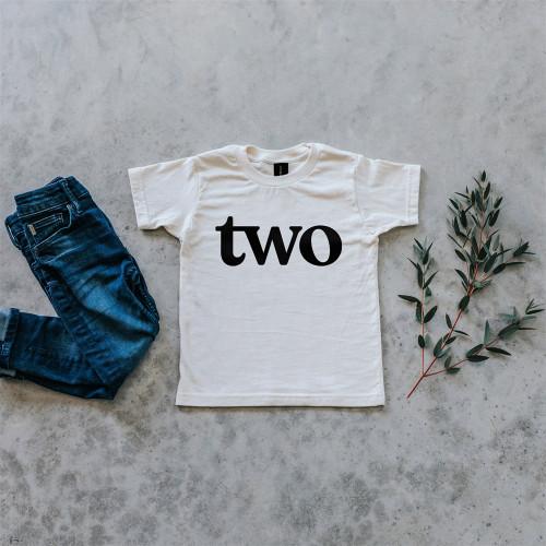 "Organic Cotton Birthday Tee - ""two"""