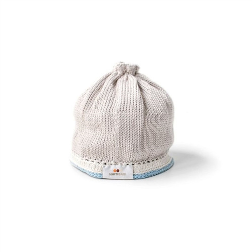 Hand Knit Baby Hat - Taupe Light Blue
