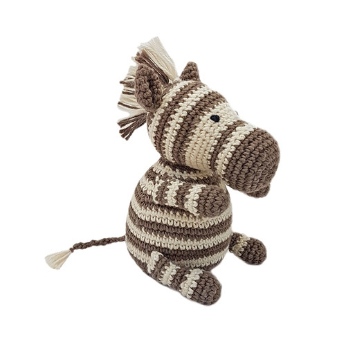 Organic Handknit Baby Zebra Rattle