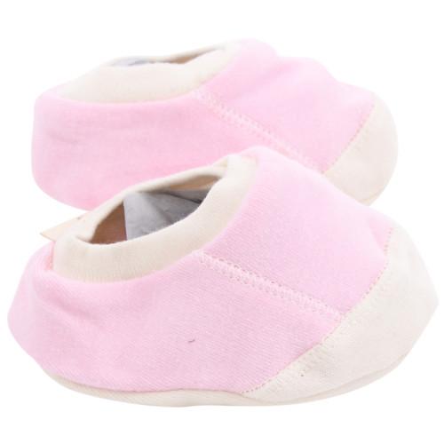 Organic Cotton Baby Booties - Pink, 0-3m