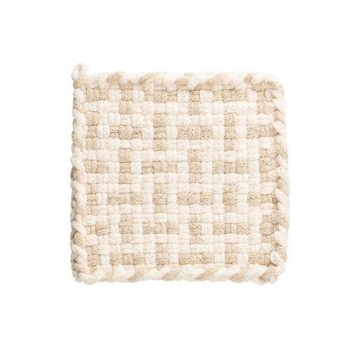 Hand Woven Pot Holder - Winter White and Flax