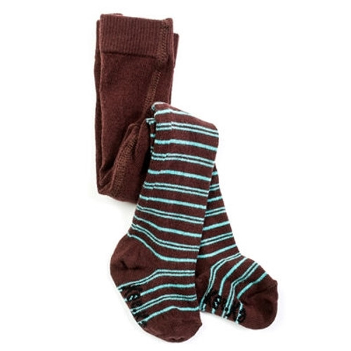 Organic Baby Tights - Turquoise and Chocolate - 2-4y