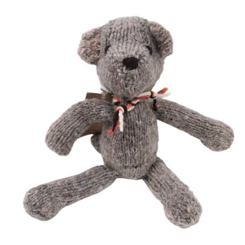 Retro Wool Teddy Bear - Grey