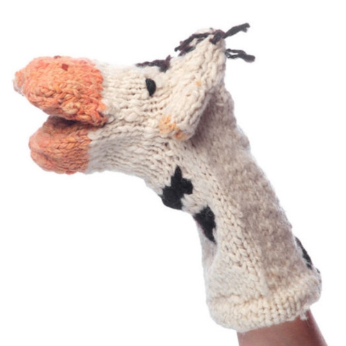 Knitted Hand Puppet - Cow