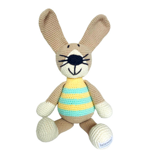 Organic Stuffed Rabbit Toy - Pastel Stripes