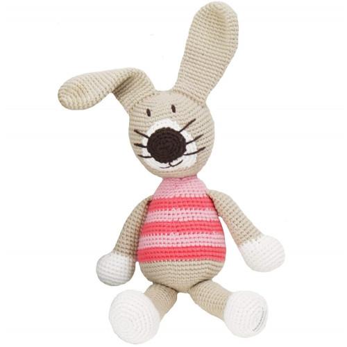 Organic Stuffed Rabbit Toy - Petra, Pink Stripes