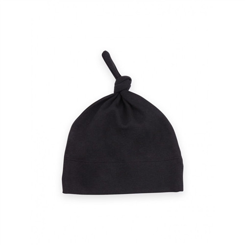 Organic Jersey Knotted Hat - Black - 0-3 Months