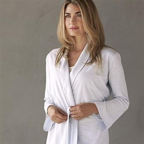 Coyuchi Organic Jersey Robe - Coyuchi Verbena - Alpine White, Large