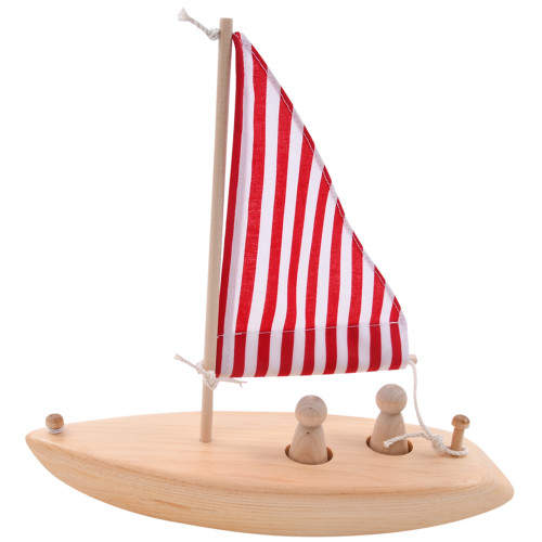 Wooden Toy Boat - Red Stripe