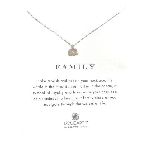 Dogeared Elephant Silver Necklace - Family 16