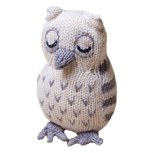 Handknit Organic Baby Toy  - Owl Rattle