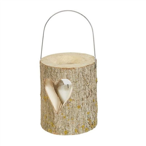 Wooden Candle Lantern with Heart