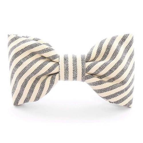 Dog Bow Tie - Charcoal Stripe, Standard (4