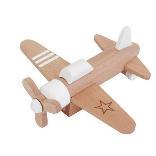 Pull Back Wooden Plane Toy