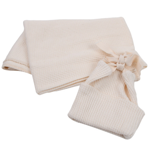 Made in the USA - Thermal Baby Blanket & Hat Set - Natural