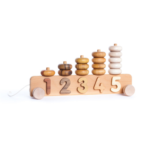 Wooden Number Stacking Pull Toy